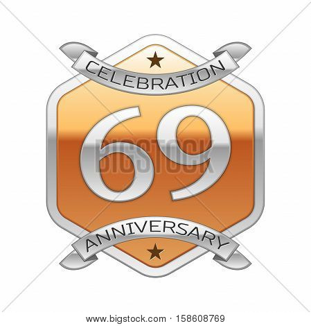 Sixty nine years anniversary celebration silver logo with silver ribbon and golden hexagonal ornament on white background.