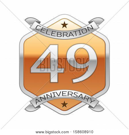 Forty nine years anniversary celebration silver logo with silver ribbon and golden hexagonal ornament on white background.