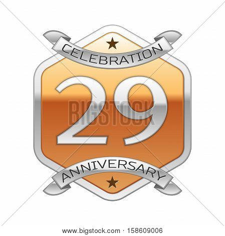 Twenty nine years anniversary celebration silver logo with silver ribbon and golden hexagonal ornament on white background.