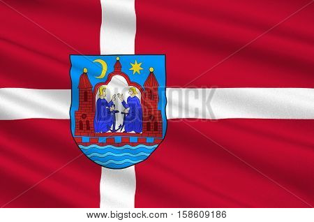 Flag of Aarhus in Central Jutland Region in Denmark. 3d illustration
