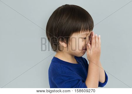 Scared Excited Small Asian Boy Portrait