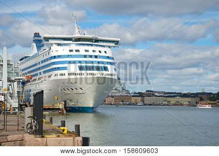 HELSINKI, FINLAND - AUGUST 28, 2016: Sea cruise ferry Silja Symphony in the harbour of Helsinki, cloud day in August
