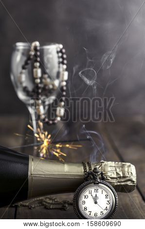 Happy New Year, holiday props on wooden background