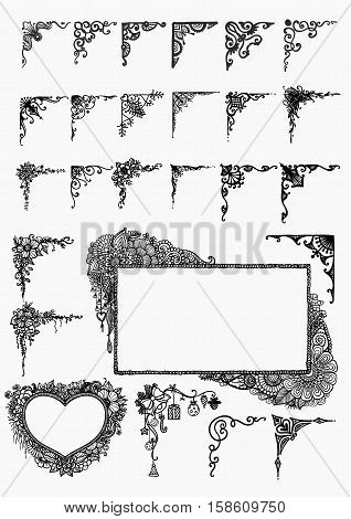 Big set of hand drawn borders for design element for wedding cards, Valentine's card and so on. Stock Vector