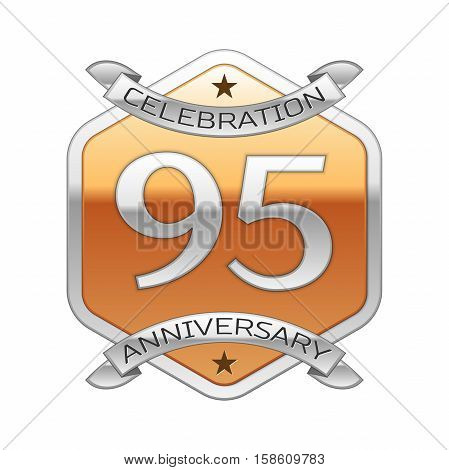 Ninety five years anniversary celebration silver logo with silver ribbon and golden hexagonal ornament on white background.