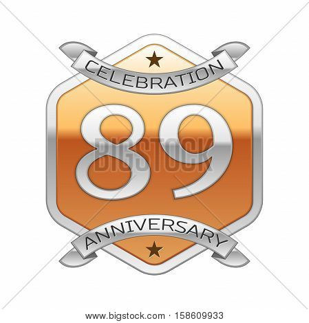 Eighty nine years anniversary celebration silver logo with silver ribbon and golden hexagonal ornament on white background.