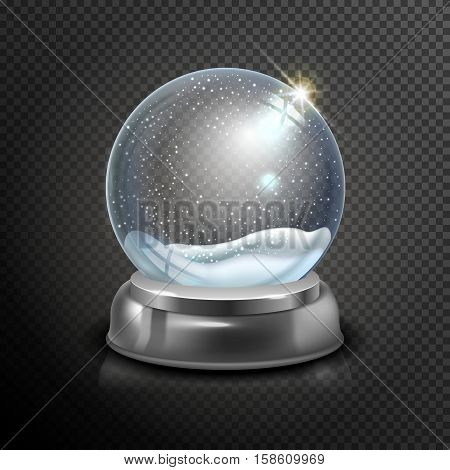 Christmas Snow Globe Isolated On Transparent Checkered Background Vector Illustration. Winter In Gla