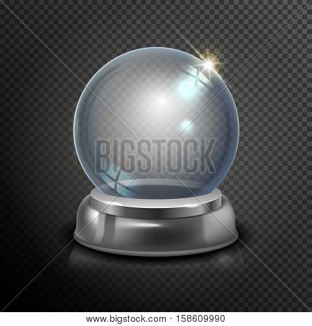 Magic Crystal Ball Of Glass And Silver. Empty Snow Globe. White Transparent Glass Sphere On A Stand.