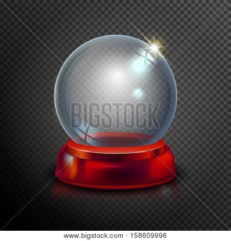 Magic Crystal Ball Of Glass And Red. Empty Snow Globe. White Transparent Glass Sphere On A Stand. Ve