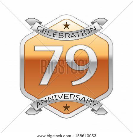Seventy nine years anniversary celebration silver logo with silver ribbon and golden hexagonal ornament on white background.