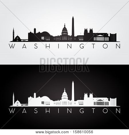 Washington USA skyline and landmarks silhouette black and white design vector illustration.