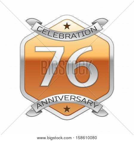 Seventy six years anniversary celebration silver logo with silver ribbon and golden hexagonal ornament on white background.