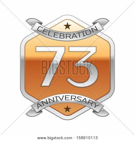 Seventy three years anniversary celebration silver logo with silver ribbon and golden hexagonal ornament on white background.