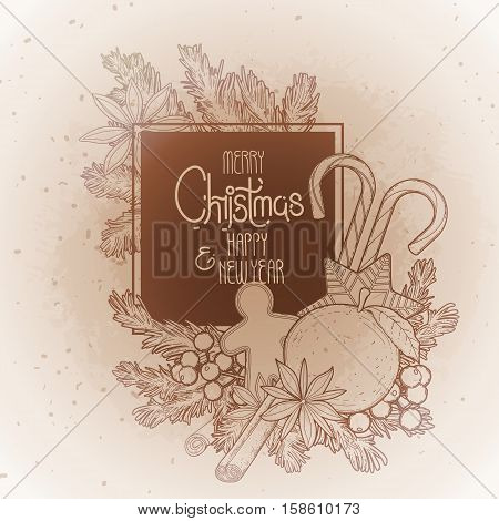 Christmas coniferous design with sweets and fir branches. Vector holiday card isolated on the vintage background in ocher colors.