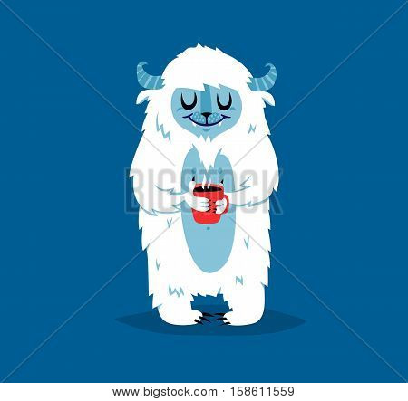 Cute yeti bigfoot monster vector set. Color winter character funny design element. Humour emoticon fantasy monster unique expression sticker isolated. Fantasy mascot crazy animal