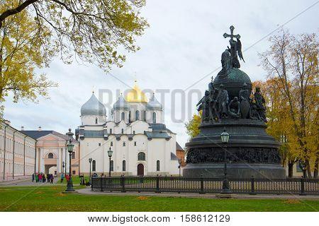 VELIKY NOVGOROD, RUSSIA - OCTOBER 07, 2016: Monument