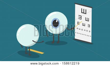 vector cartoon eyes test eyesight.Could you read out the letters on the chart starting at the top