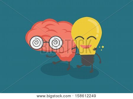 vector cartoon cute brain and lightbulb are friends. Them walk together meaning knowledge and creative idea or IQ and EQ. can develop organization.