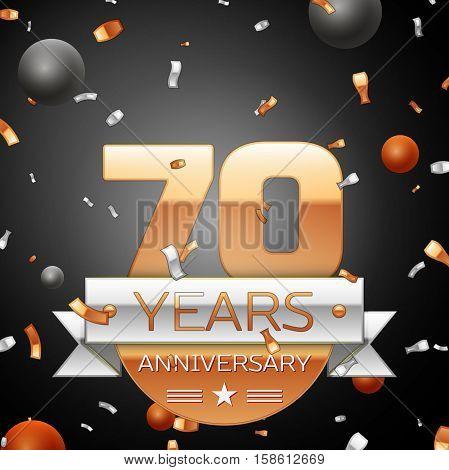 Seventy years anniversary celebration background with silver ribbon confetti and circles. Anniversary ribbon. Vector illustration.