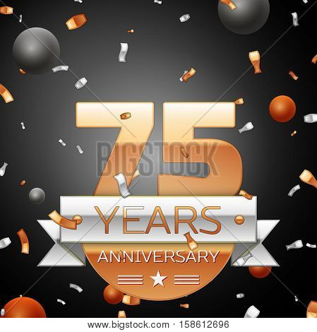 Seventy five years anniversary celebration background with silver ribbon confetti and circles. Anniversary ribbon. Vector illustration.