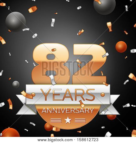 Eighty two years anniversary celebration background with silver ribbon confetti and circles. Anniversary ribbon. Vector illustration.