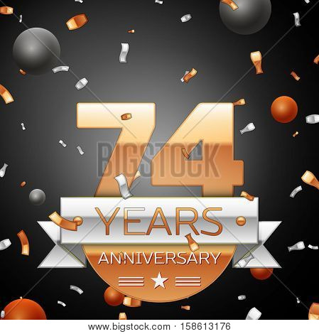 Seventy four years anniversary celebration background with silver ribbon confetti and circles. Anniversary ribbon. Vector illustration.