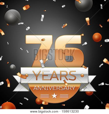 Seventy six years anniversary celebration background with silver ribbon confetti and circles. Anniversary ribbon. Vector illustration.