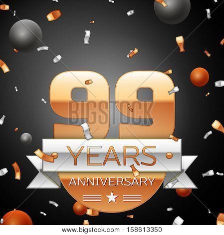 Ninety nine years anniversary celebration background with silver ribbon confetti and circles. Anniversary ribbon. Vector illustration.