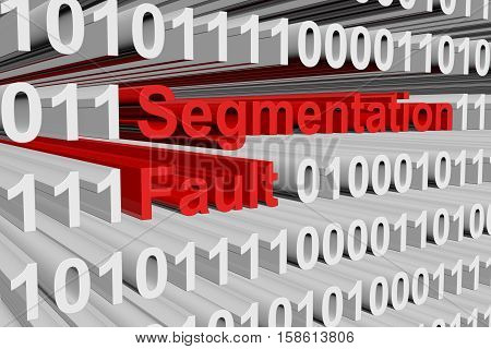 Segmentation fault in a binary code 3D illustration