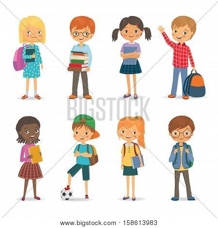 Cute international pupils with book and backpacks. Vector illustration