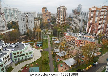 View on two kindergardens and blocks of flats on Novatorov street in Moscow Russia.