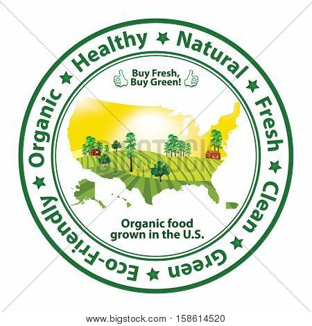 Organic Food grown in the U.S - stamp with the map of United States of America. Print colors used