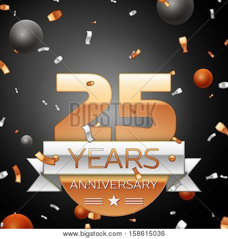Twenty five years anniversary celebration background with silver ribbon confetti and circles. Anniversary ribbon. Vector illustration.
