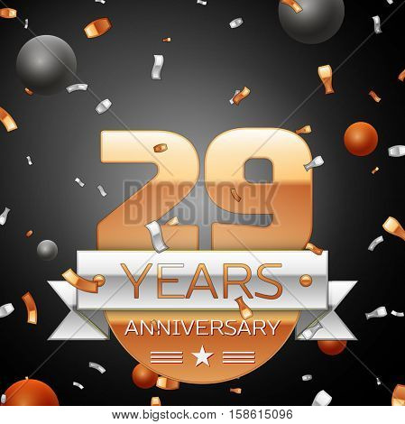 Twenty nine years anniversary celebration background with silver ribbon confetti and circles. Anniversary ribbon. Vector illustration.