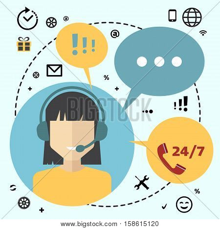 Call center telemarketing woman operator. Customer support and telephone sales concept. Flat avatar and icons.