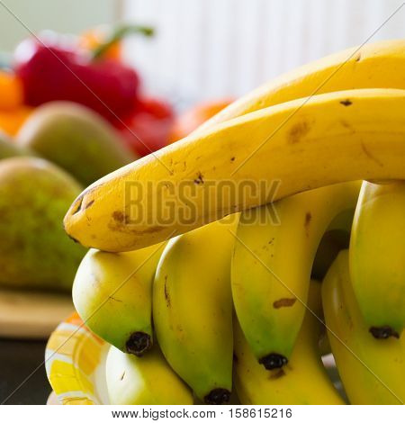 Bright and tasty bananas are on the table photo for you