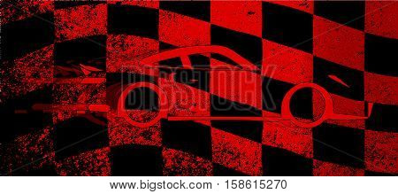 A dirty red and black grunge fx chequered race flag with a fast car