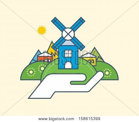 Environmental protection, gardening of territory, use of natural products and the preservation of the natural balance of resources, environmental conservation, cleanliness. Vector illustration.