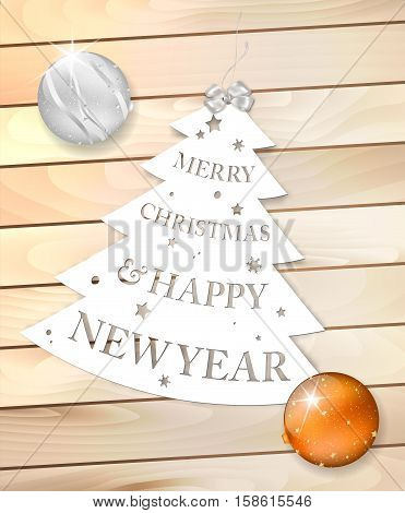 Paper Christmas Tree With Wish On Wooden Background