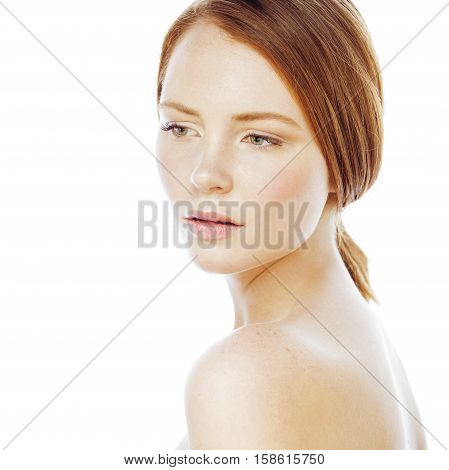 spa picture attractive happy smiling lady young red hair isolated on white close up, lifestyle ginger people concept