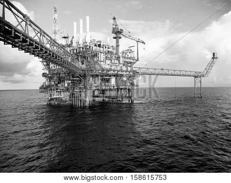 Oil and gas platform in the gulf or the offshore, The world energy, Offshore oil and rig construction.