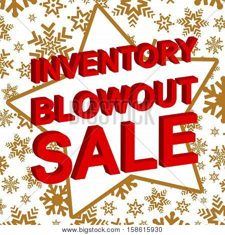 Winter sale poster with INVENTORY BLOWOUT SALE text. Advertising  vector banner template
