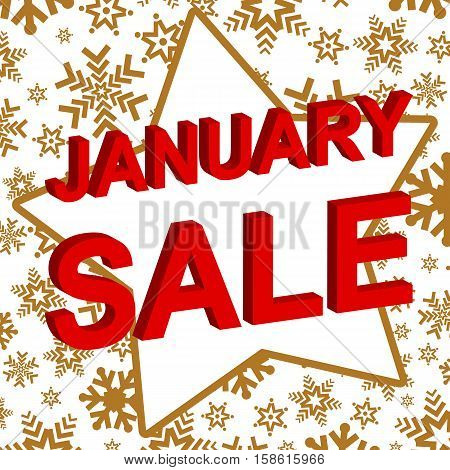 Winter sale poster with JANUARY SALE text. Advertising  vector banner template