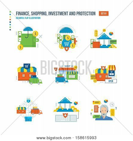 Finance, business, shopping, investing, protection, technical support and counseling, information technology, banking and communications icons set over white background. Colorful flat illustrations.
