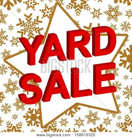 Winter sale poster with YARD SALE text. Advertising  vector banner template