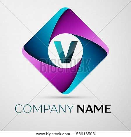 Letter V vector logo symbol in the colorful rhombus. Vector template for your design