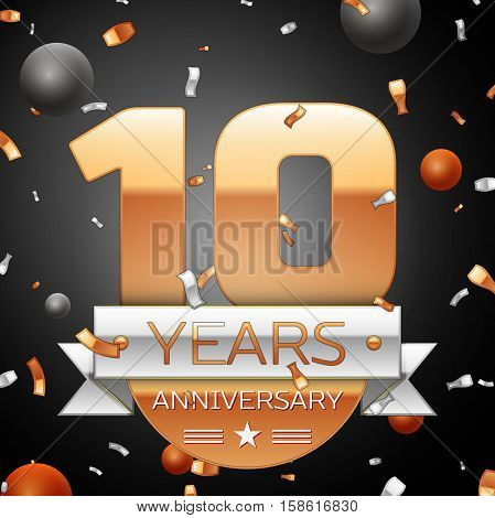 Ten years anniversary celebration background with silver ribbon confetti and circles. Anniversary ribbon. Vector illustration.