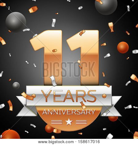 Eleven years anniversary celebration background with silver ribbon confetti and circles. Anniversary ribbon. Vector illustration.