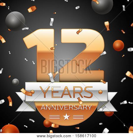 Twelve years anniversary celebration background with silver ribbon confetti and circles. Anniversary ribbon. Vector illustration.