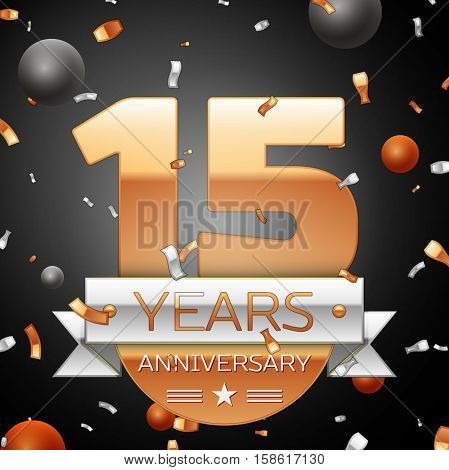 Fifteen years anniversary celebration background with silver ribbon confetti and circles. Anniversary ribbon. Vector illustration.